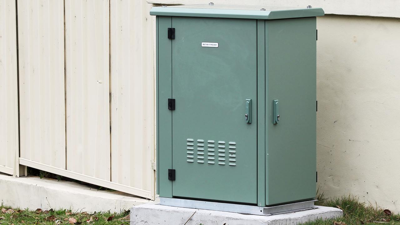 The green cabinet or 'node' where NBN fibre optic cables connect the network to copper wires from people's homes.