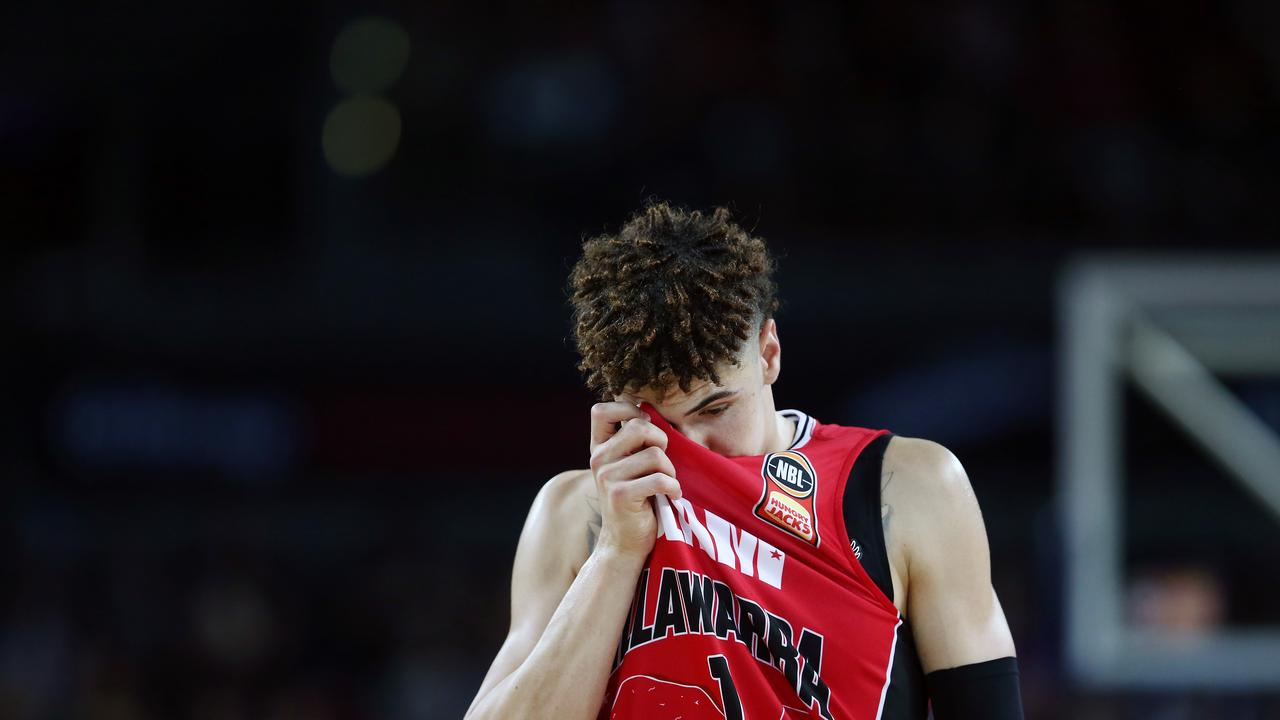 LaMelo Ball may have played his last game for the Illawarra Hawks after suffering a foot injury. Picture: Getty
