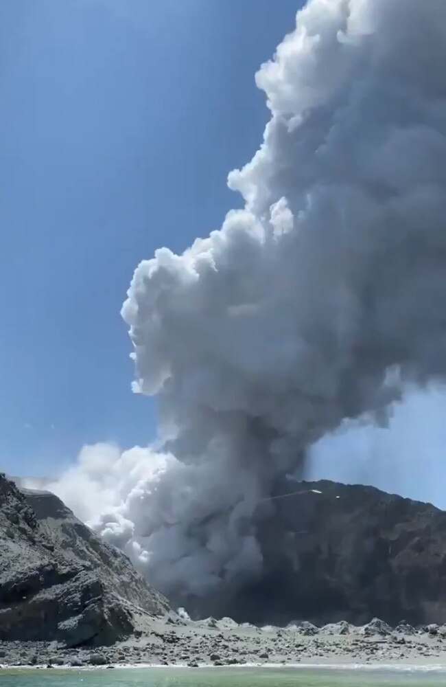 Video still shows the aftermath of the White Island volcano eruption. Picture: Michael Schade