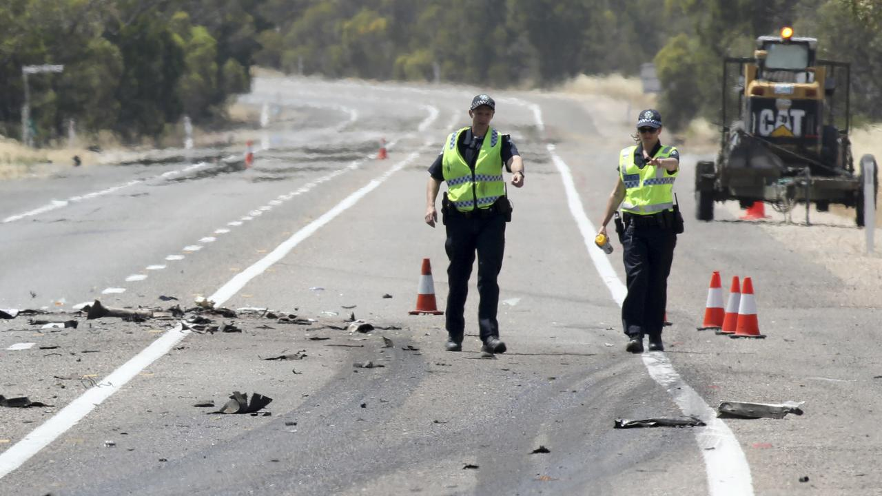 The scene of the fatal crash on the Dukes Highway, near Coomandook. Picture: AAP Image/Dean Martin
