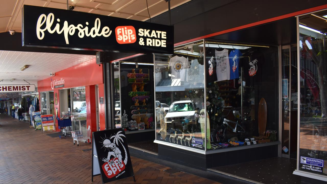 The new store, Flipside Skate and Ride at 55 Mary Street, Gympie.
