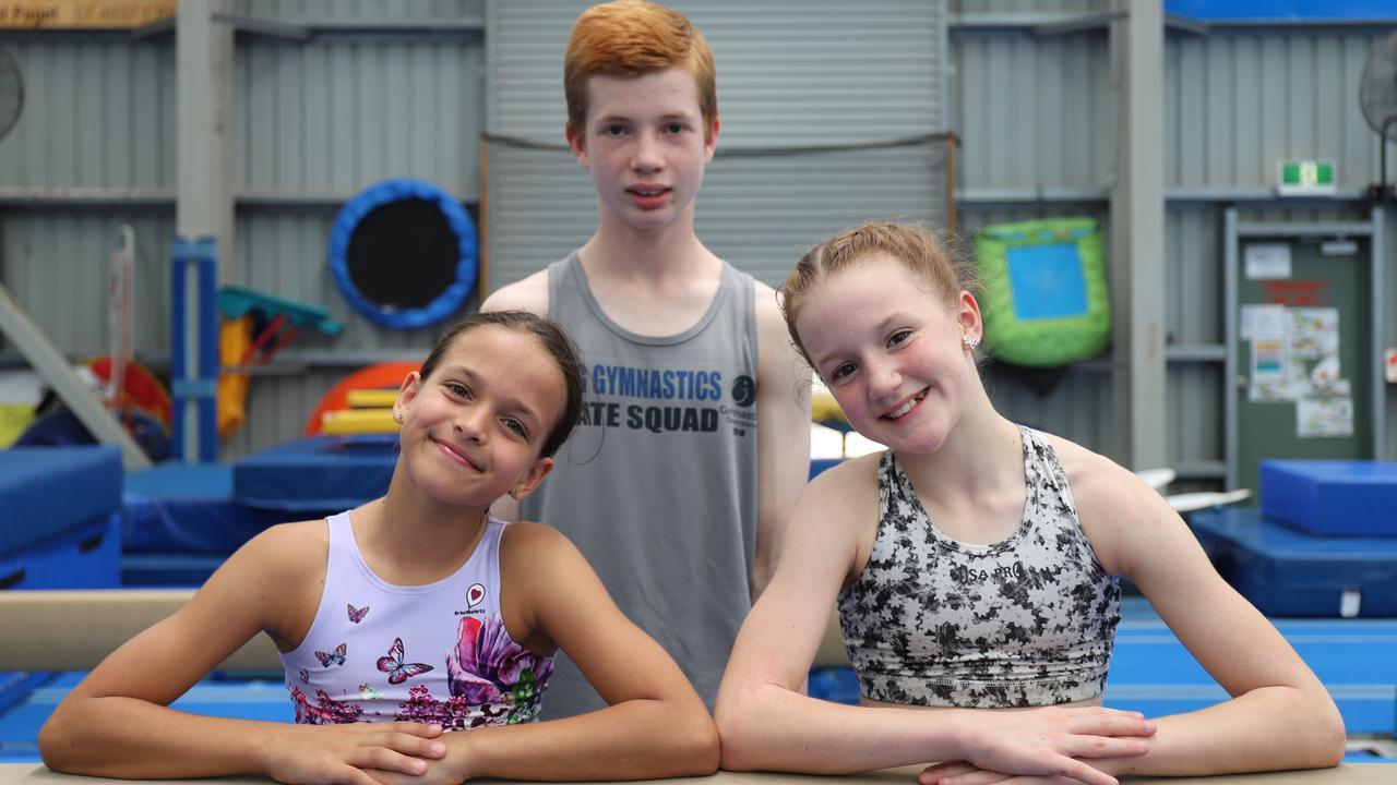 Mackay Gymnastics award winners Oriana Morgan (11), Robbie Barnett (14) and Charlotte Coombes (11). PICTURE: Ashley Pillhofer