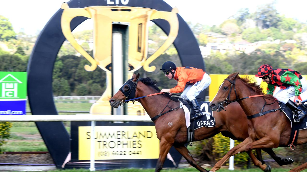 Ryan Maloney rides Spiral to victoy in Race 3 at the Lismore Cup 2018.