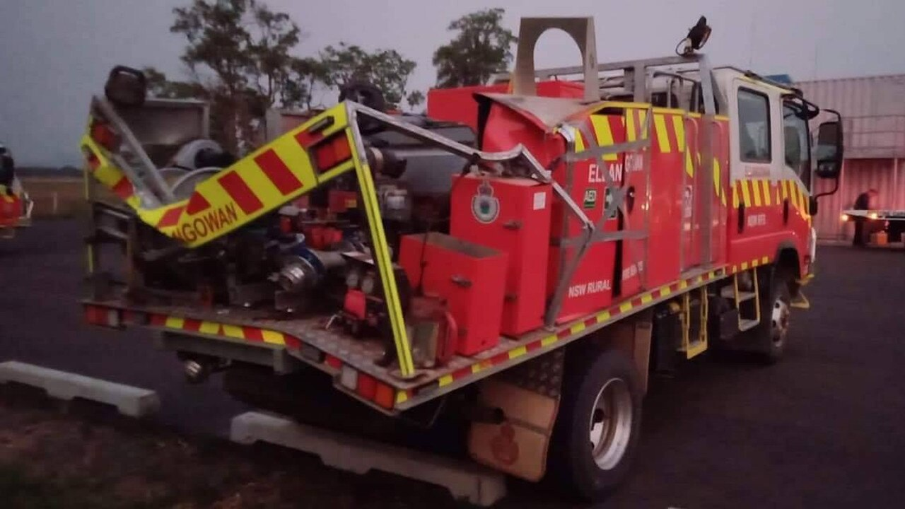 ARROW ESCAPE: The Ellangowan Rural Fire Service crew had a narrow escape then a tree fell on the rear of their fire truck while they were attending the Myall Creek Road Fires.