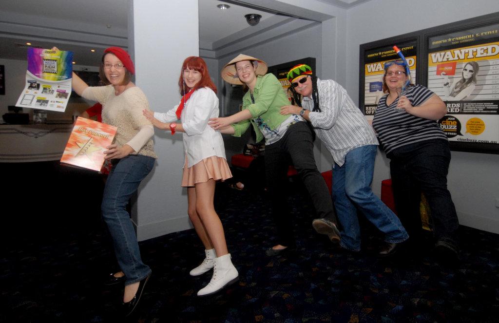 Image for sale: Keen movie goers Sally Dhu, Jasmine Sandes, Kiti Norman, Dale Miinchow and Rebekah LisciandroPhoto Tony Martin / Daily Mercury