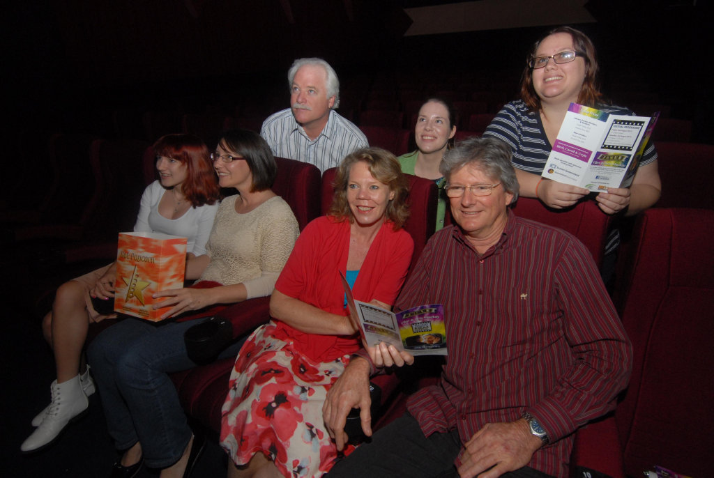 Image for sale: At the movies, (front) Jasmine Sandes, Sally Dhu, Sue Houston and Greg Muir and at back, Dale Miinchow, Kati Norman and Rebekah LisciandroPhoto Tony Martin / Daily Mercury
