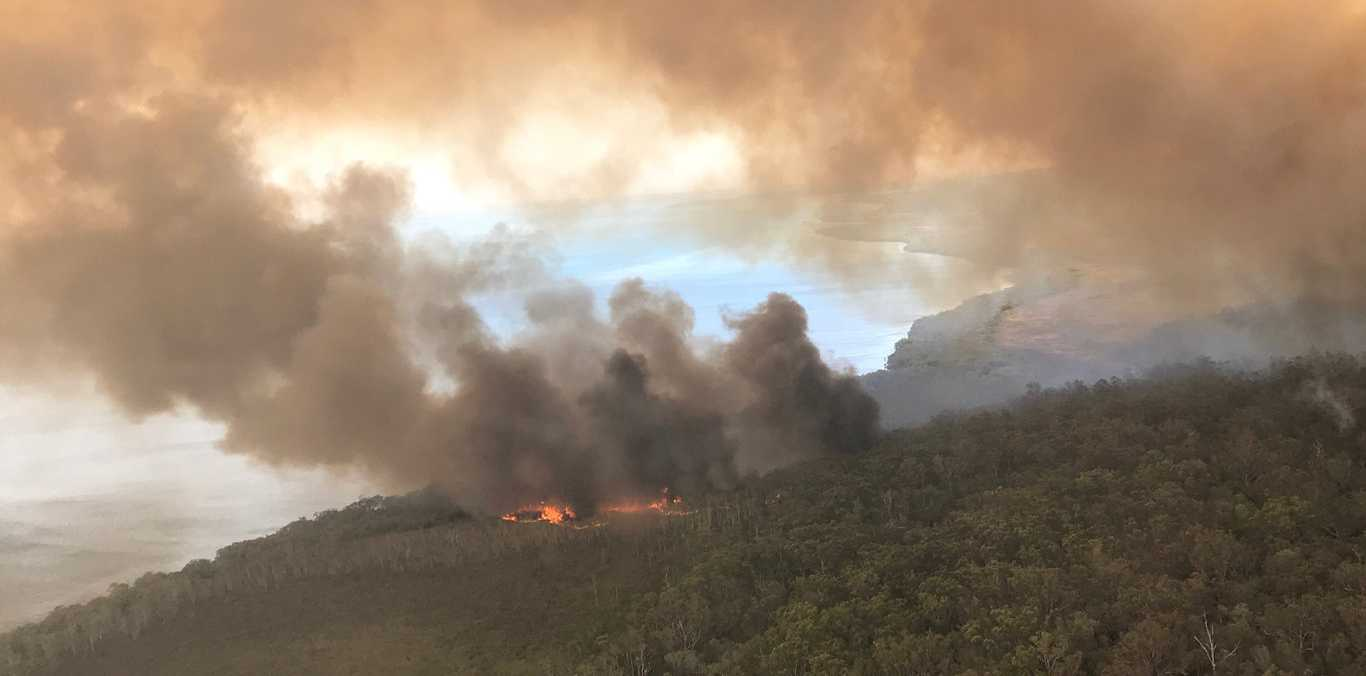 Photos of the Fraser Island fire, now in its 20th day, taken on December 4 from the air.