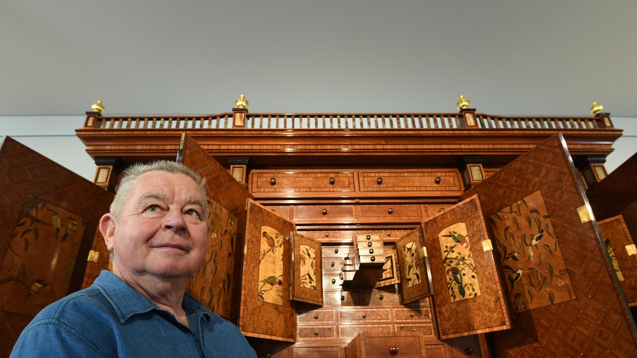 Geoff Hannah at the launch of the project to raise $1M over the next 22 months to purchase the Hannah Cabinet to become part of the permanent collection of the Lismore Regional Gallery.