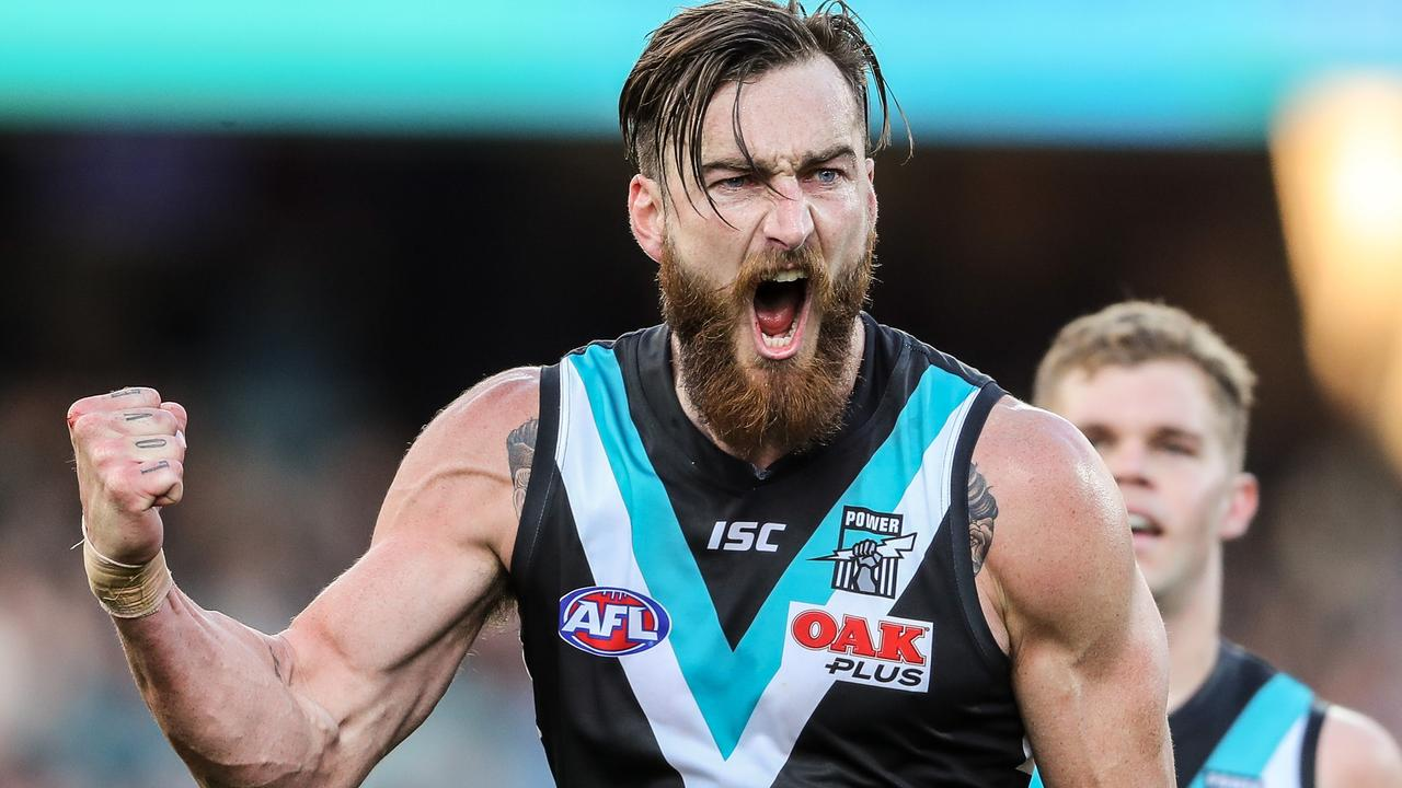 Charlie Dixon of the Power celebrates a goal during the 2019 AFL round 23 match between the Port Adelaide Power and the Fremantle Dockers at the Adelaide Oval on August 25, 2019 in Adelaide, Australia. Picture: Matt Turner/AFL Photos