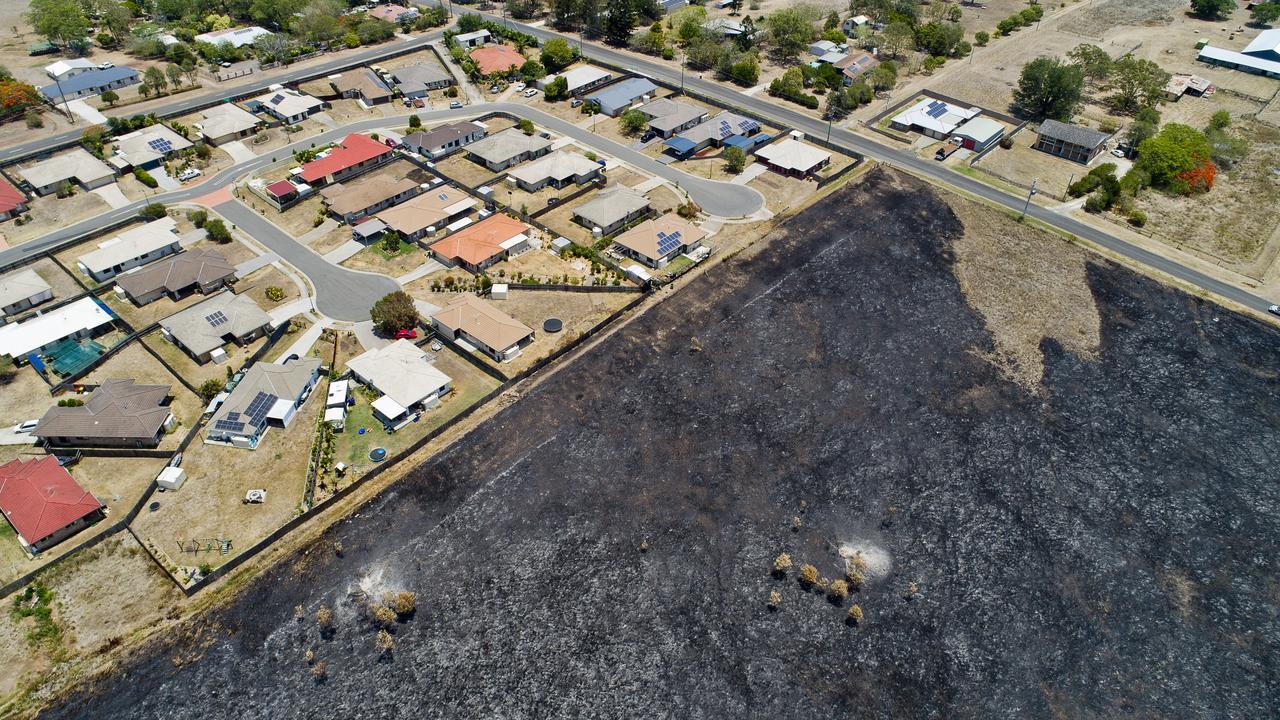 Aerial view of damage caused during a fire at Bundamba. Picture: Cordell Richardson