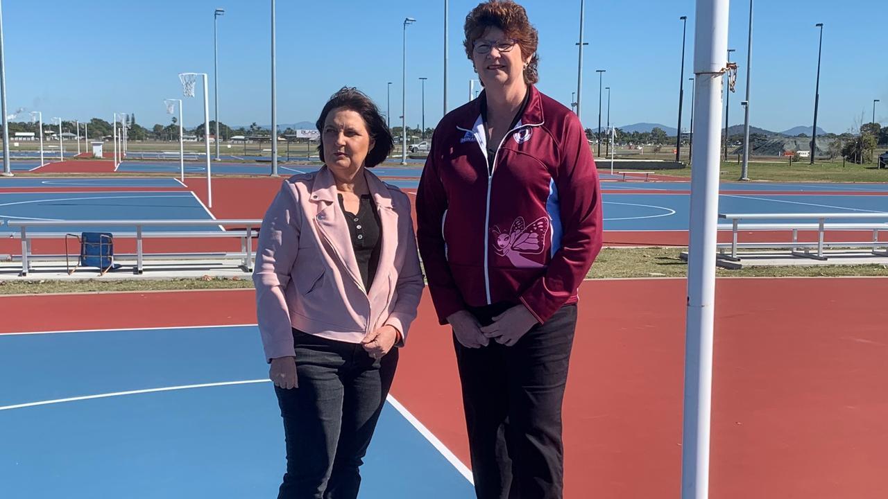 OLYMPIC BID: Mackay MP Julieanne Gilbert and Mackay Netball Association life member Lyn Law.