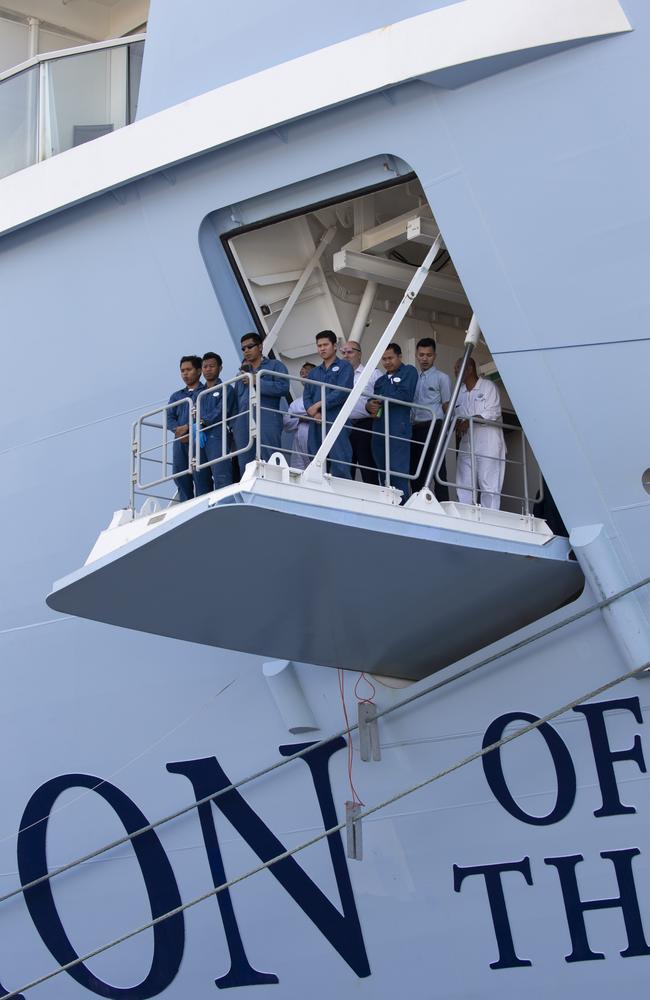 Crew of the Ovation of the Seas watch during the Karakia Whakatau Mauriat the Tauranga Port: Brett Phibbs