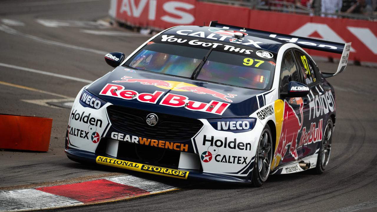Shane van Gisbergen drives the factory Red Bull Holden entry in Newcastle last month.