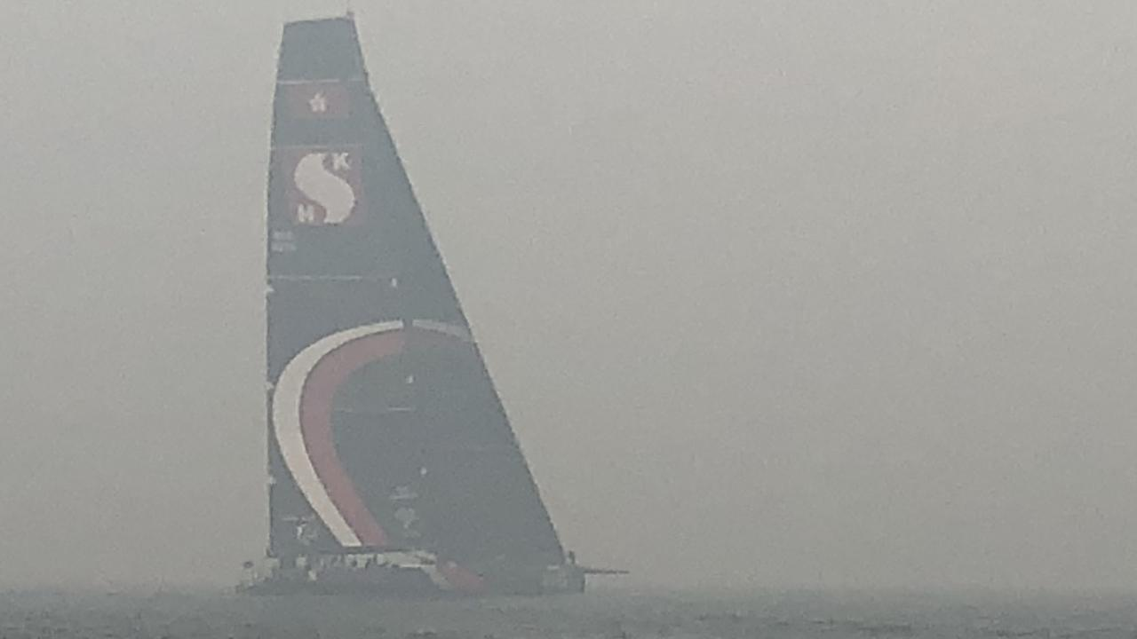 Supermaxi Scallywag on Sydney Harbour after the racing was cancelled. Picture: Andrea Francolini