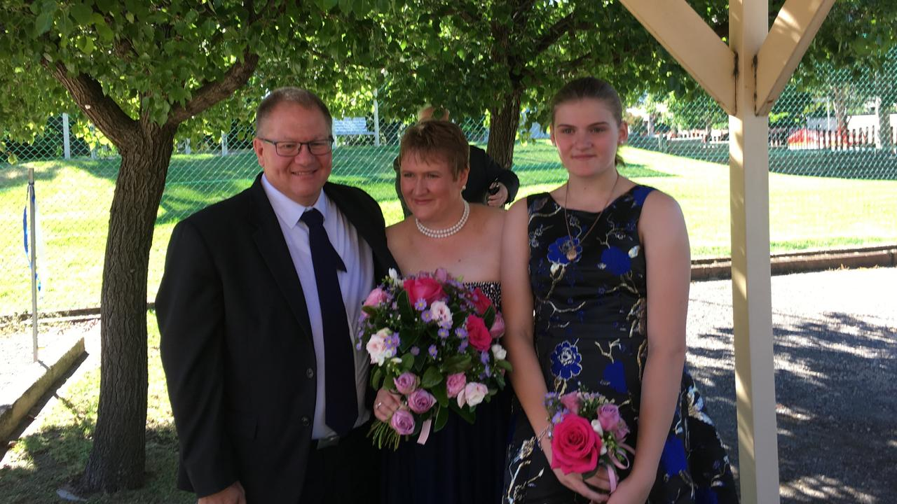 Gavin and Lisa Dallow and Zoe Hosking on Gavin and Lisa's wedding day in March 2017. Picture supplied by family.