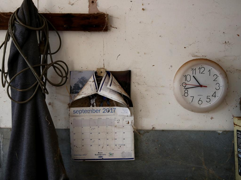 The calendar on the wall of the dairy is still showing the month of September 2017, the final month Peter Enever's dairy farm operated. Picture: Toby Zerna