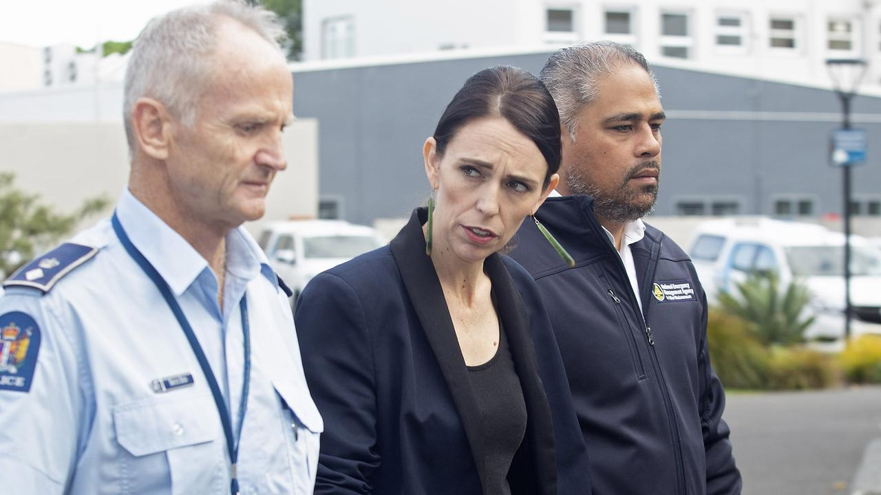 WHAKATANE, NEW ZEALAND – DECEMBER 10: Zealand PM Jacinda Ardern arrives for a press conference as a volcano erupts In Bay of Plenty on December 10, 2019 in Whakatane, New Zealand. One person has died, several are injured and many are missing following a volcano eruption at White Island on Tuesday. (Photo by John Boren/Getty Images)