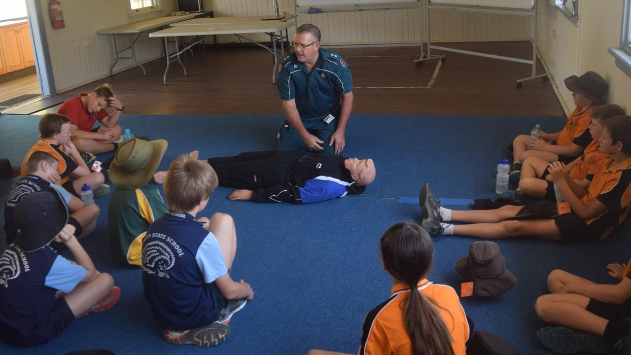 EMERGENCY INSTRUCTION: Biloela Ambulance Service officer-in-charge Terry Zillman teaches students vital CPR knowledge at the Biloela PCYC.