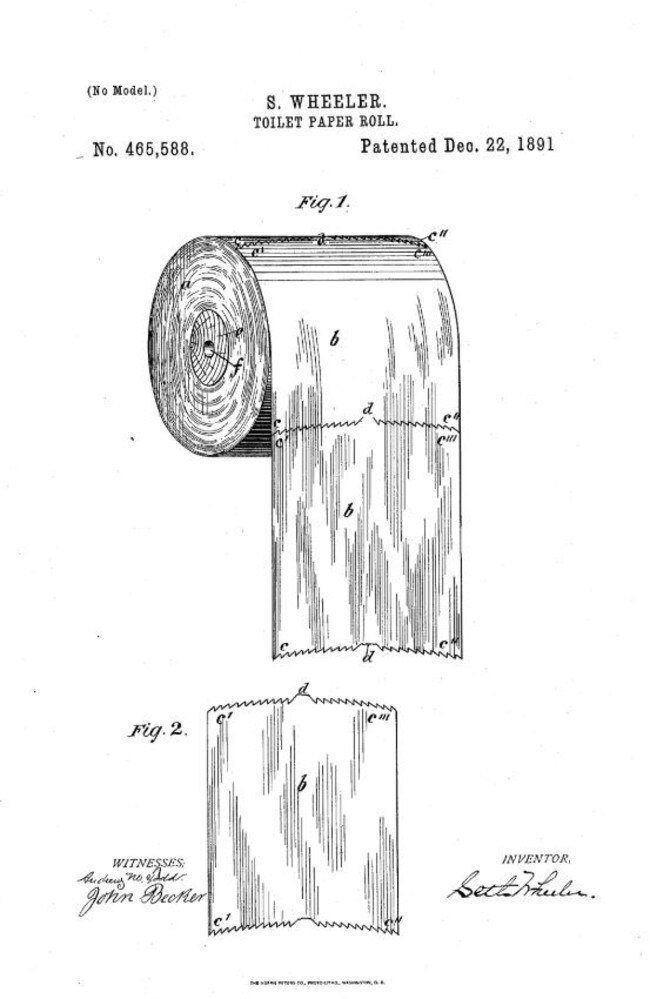 The patent for the toilet roll holder proves which way you should be hanging yours. Picture: Supplied / Google
