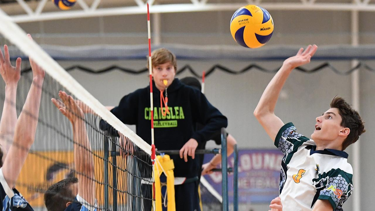 FLASHBACK: World of Sport Super 5 Junior Volleyball Tournament at the Caloundra Indoor Stadium. Burnside's Isaac Dixon in action against Caloundra High. Picture: Warren Lynam.