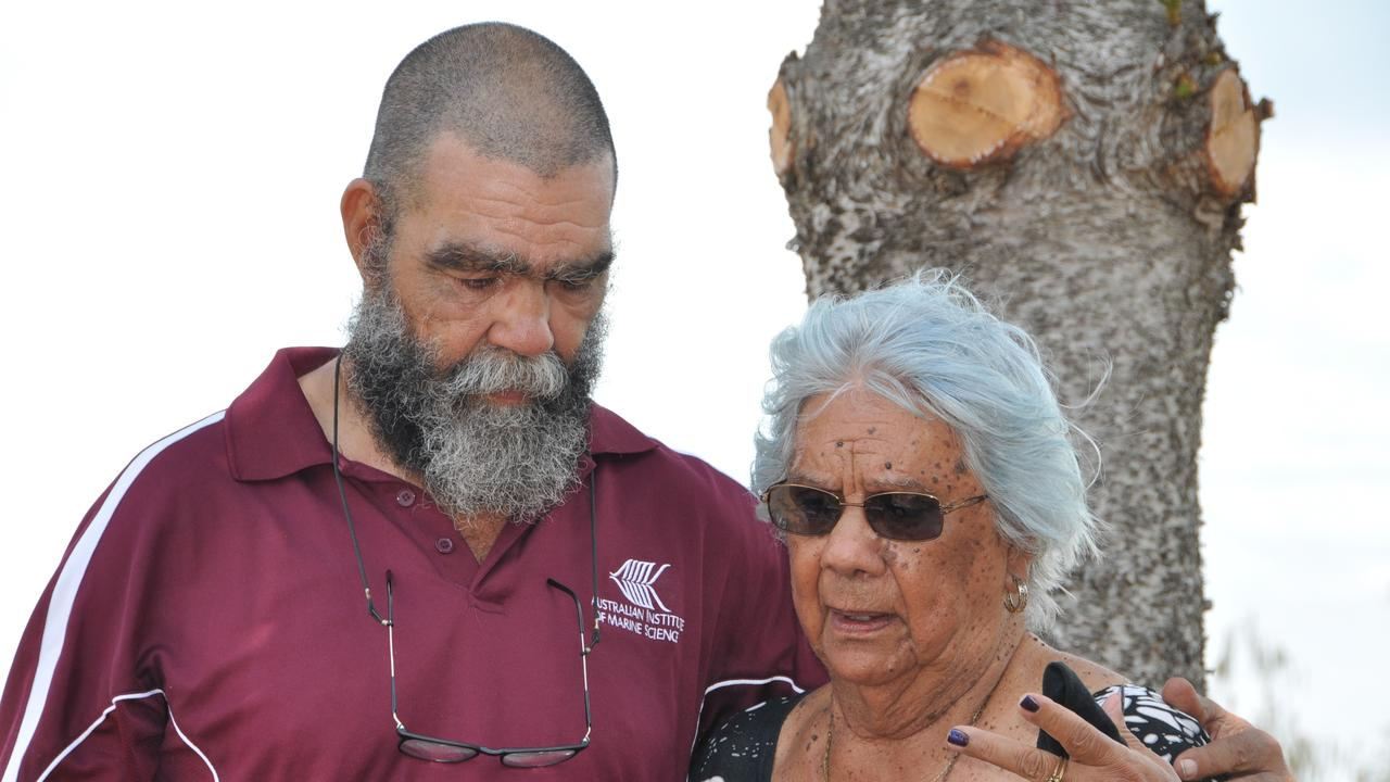 Elder Bob Muir with mum Nelly as they recount their history at the welcoming ceremony.