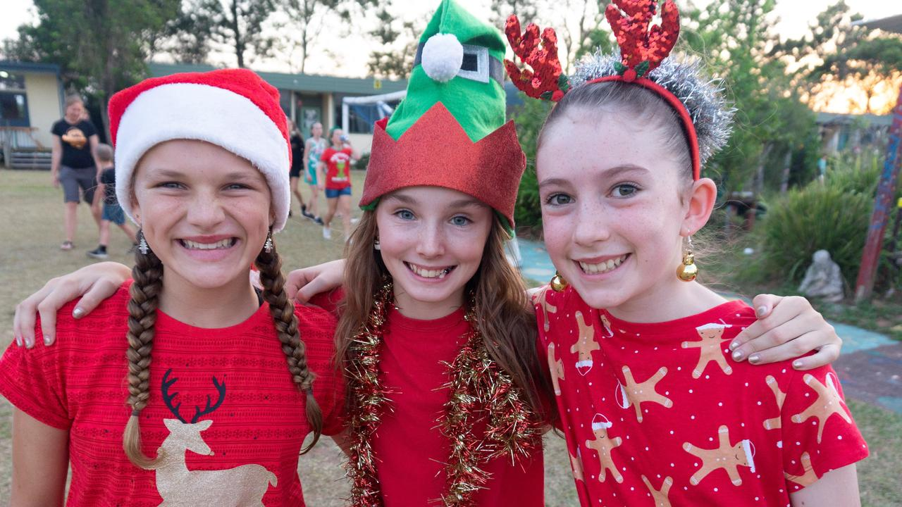 North Arm State School students Jasmine, Pyper and Maia enjoy the festivities. Picture: Ben Lockens
