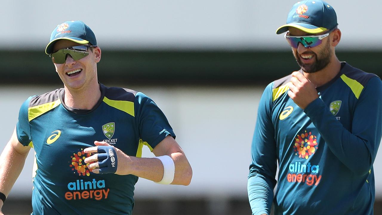 Steve Smith and Nathan Lyon at training. Picture: AAP Image/Richard Wainwright