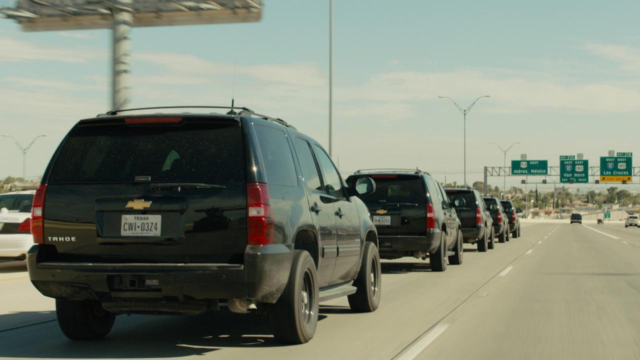 A line-up Chevrolet SUVs from the film Sicario.