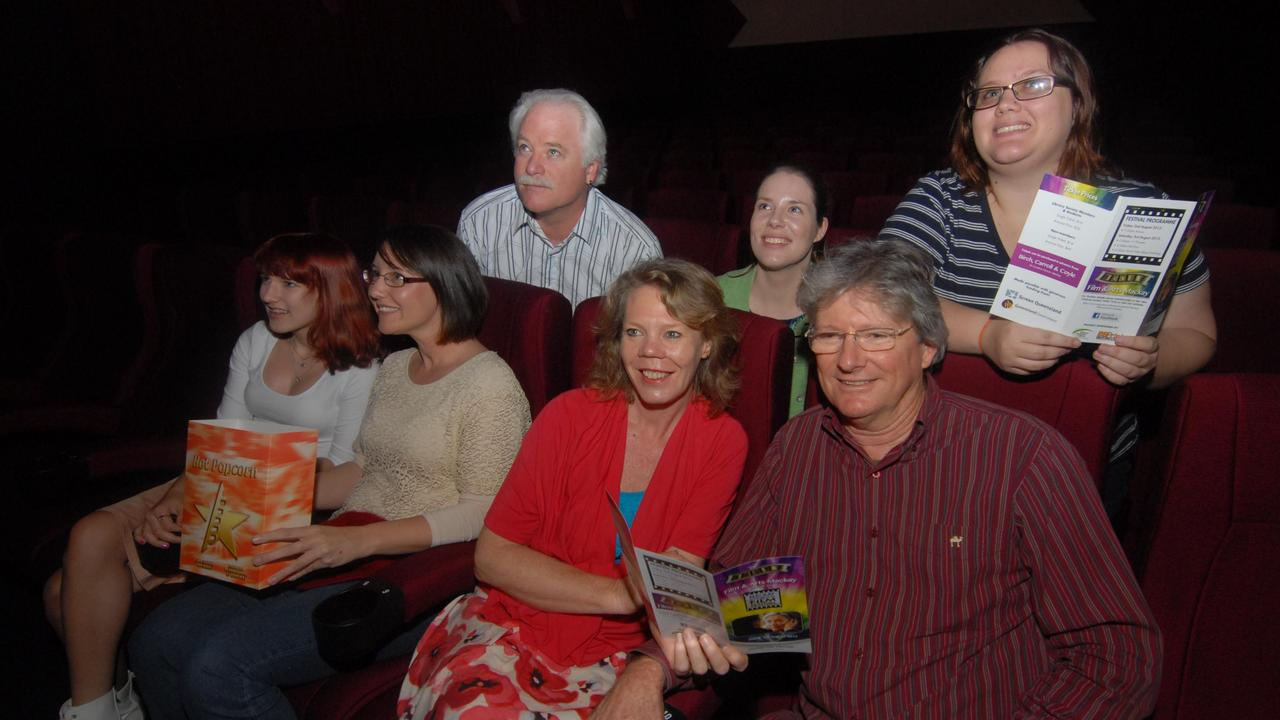 At the movies, (front from left) Jasmine Sandes, Sally Dhu, Sue Houston and Greg Muir and (at back) Dale Miinchow, Kati Norman and Rebekah Lisciandro. Picture: Tony Martin
