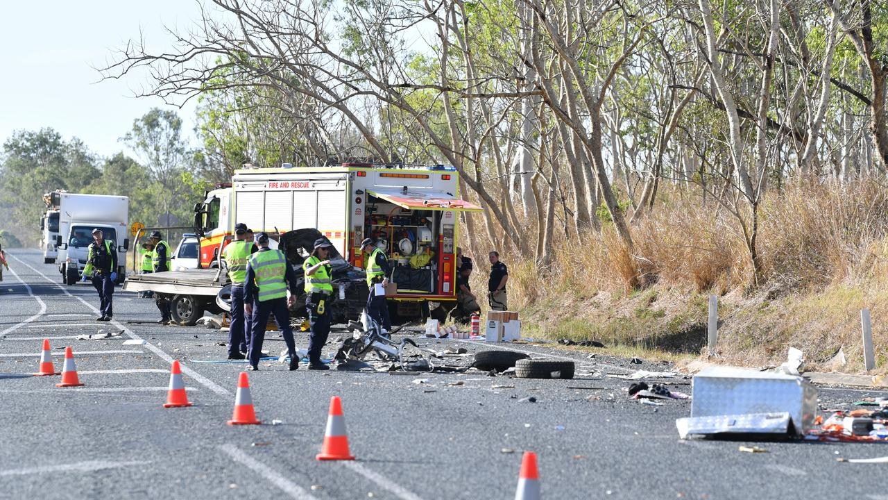 Emergency services crews at the scene of the fatal traffic crash on the Bruce Highway near Mt Pelion on December 4. A 57-year-old died at the scene. Picture: Tony Martin