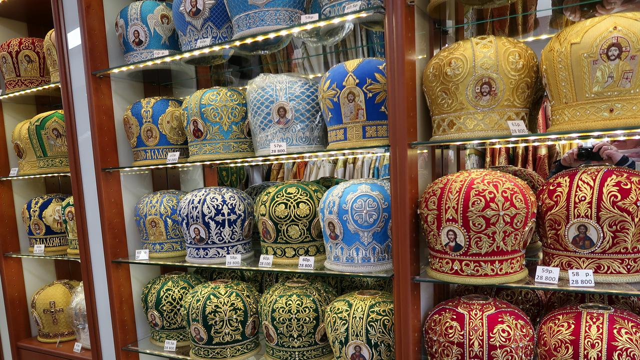 Bishops hats for sale, but not to the public, at Sergei Posad near Suzdal.