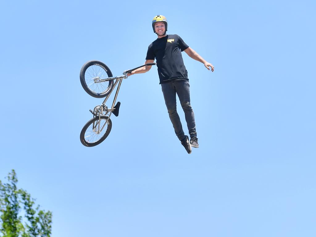 Coast BMX and scooter legend Ryan Williams gets some serious air at his training facility. Photo: John McCutcheon / Sunshine Coast Daily