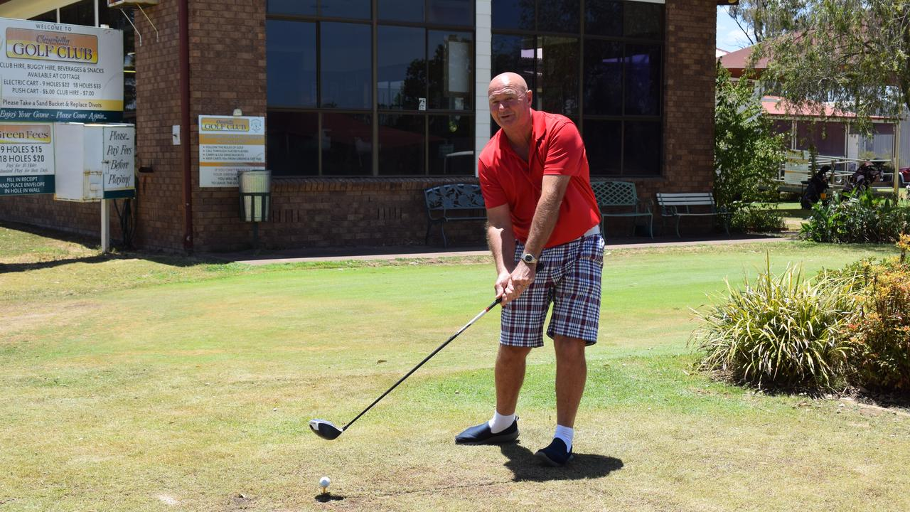 SWINGING BIG: Deon Hunt tees off the final time at Chinchilla Golf Club for a while before he moves to Toowoomba.