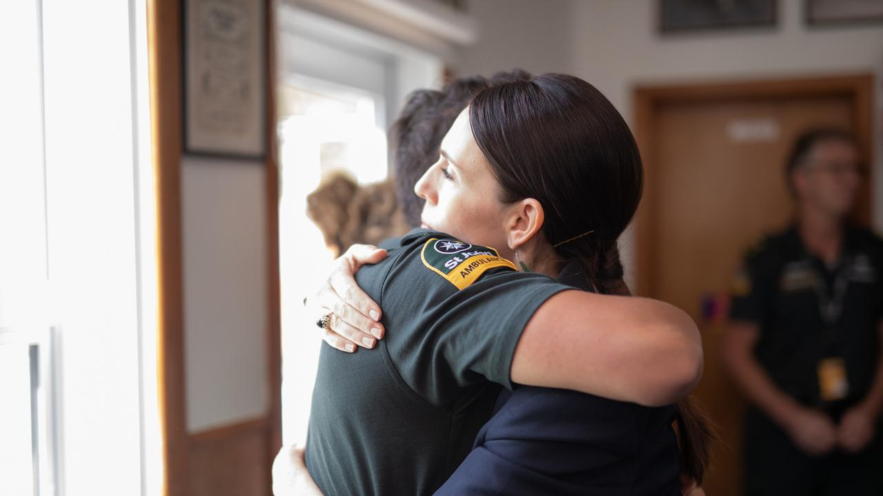New Zealand Prime Minister Jacinda Ardern meets with first responders made up of Kahu helicopter pilots, firefighters and ambulance staff. Picture: Dom Thomas/AAP