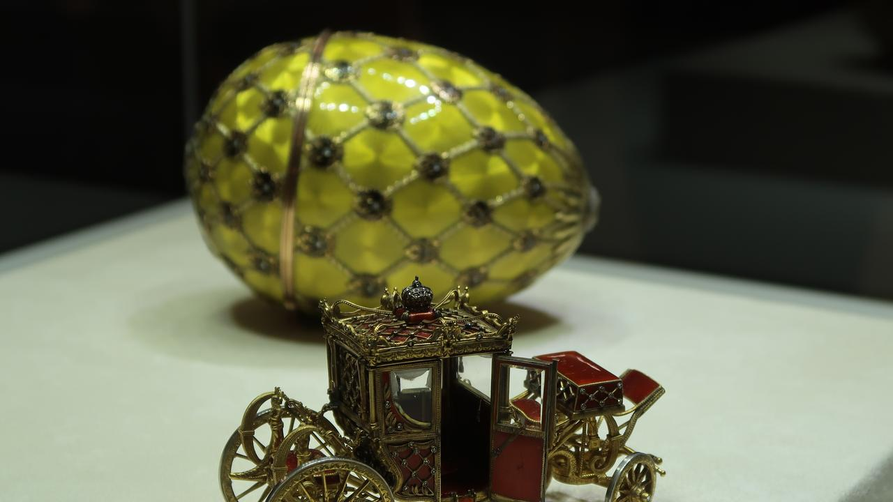 One of the delicate Faberge eggs on display in St Petersburg's Carl Fabrege Museum.
