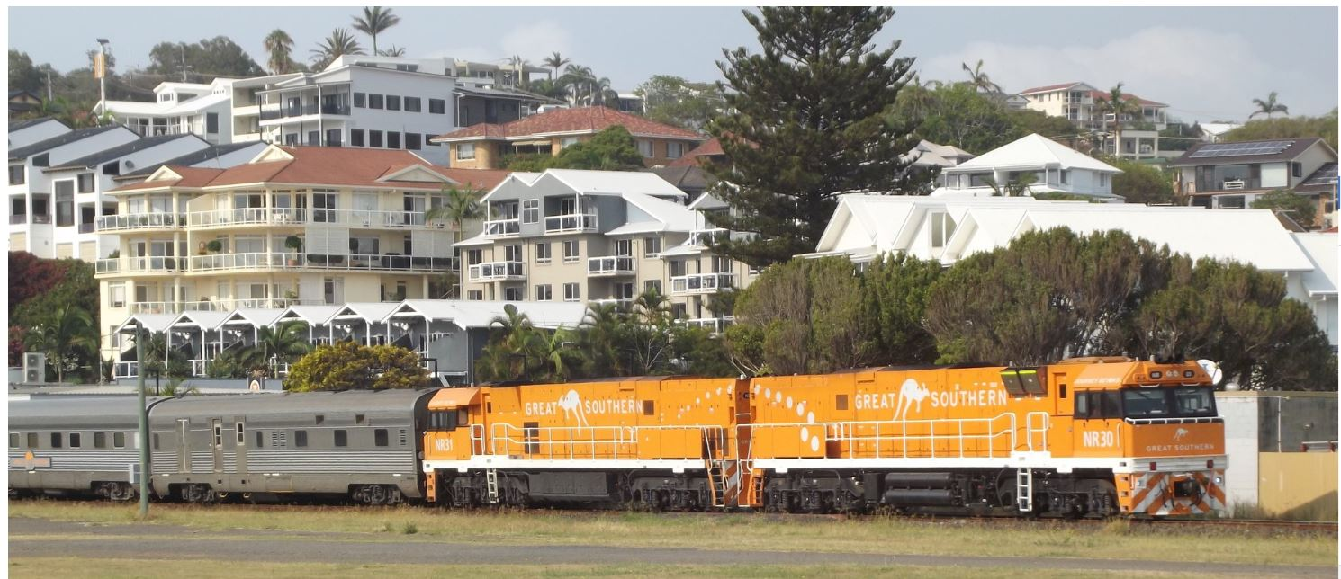 The inaugural Great Southern arriving in Coffs Harbour on Sunday, December 8.