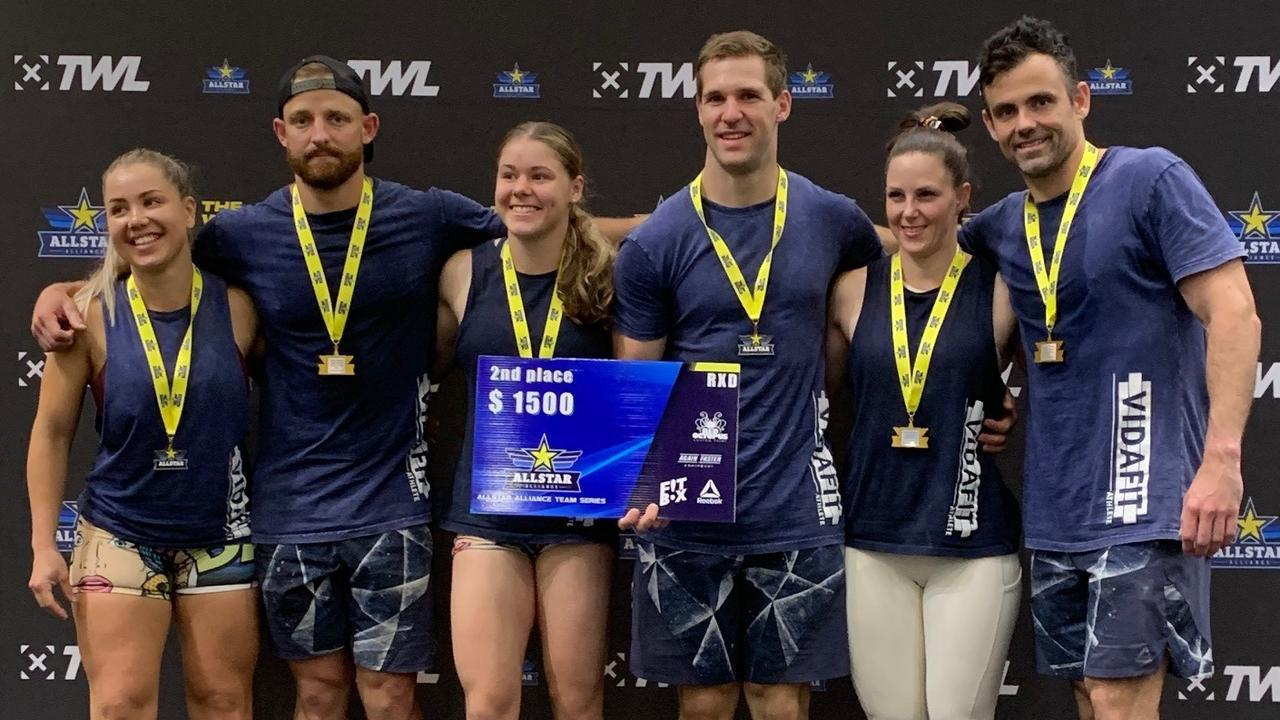 SWEET SUCCESS: VidaFit Black team members Bec Lennon, Brodie Maclean, Tai Gwynne, Alex Budrodeen, Jacinda Lawrence and Dan Withers celebrate their second placing in the Advanced division in the All Star Affiliate Series.   Picture: CONTRIBUTED