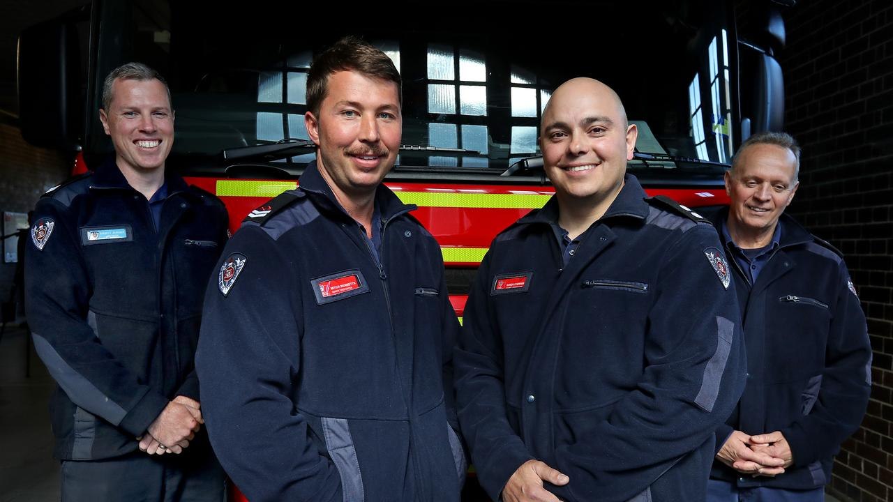 The four heroic firefighters from Drummoyne station (from left) Bennett Gardiner, Mitch Bennetts, Gonzalo Herrera and Mike Stuart. Picture: Toby Zerna