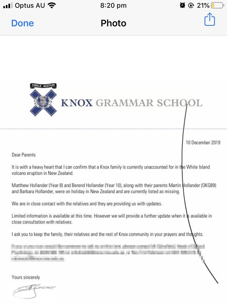 A statement from Knox Grammar School.