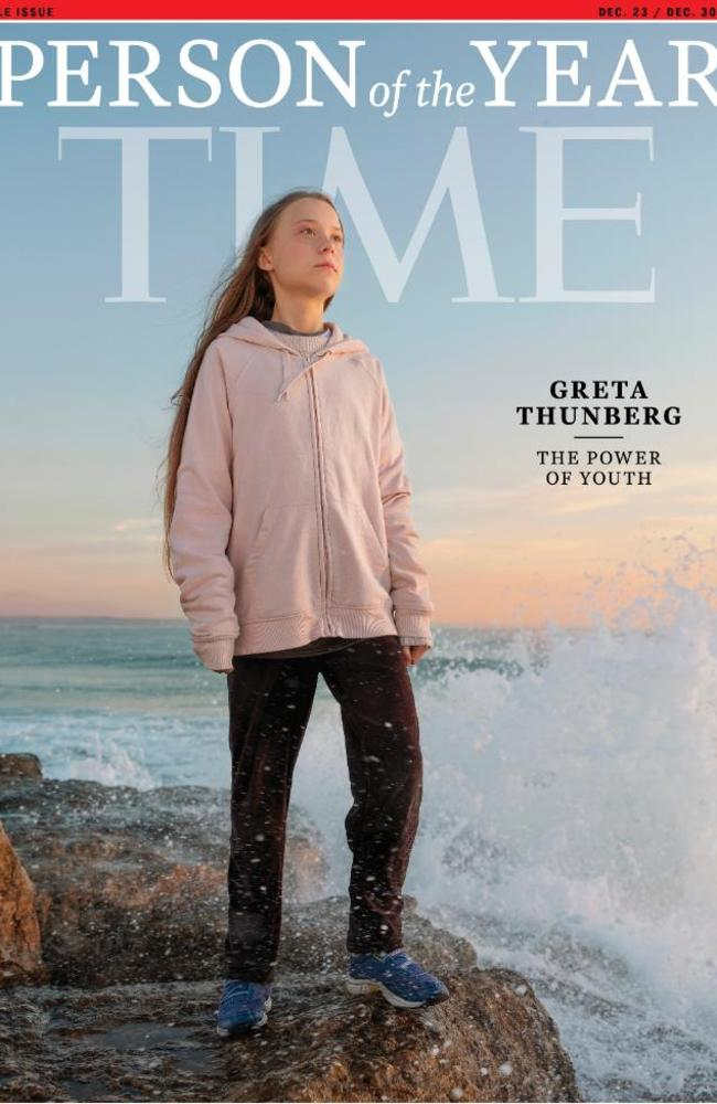 "Ms Thunberg has been recognised as ""The Power of Youth"". Picture: Time"