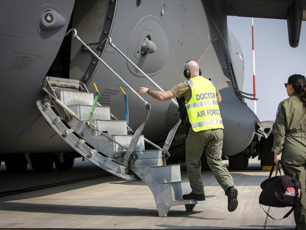 Royal Australian Air Force medical officers boards C-17A Globemaster at RAAF Amberley. Picture: ADF