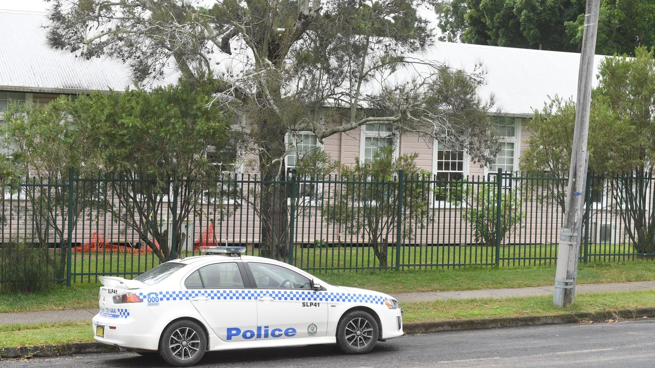 Police outside Byron Bay Public School where a woman is alleged to have been involved in stabbing.