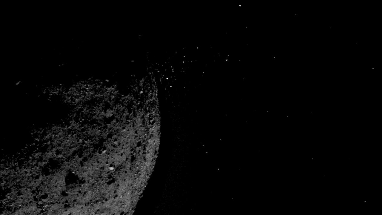 NASA doesn't know why particles are coming off the Bennu asteroid. Picture: NASA/Goddard/University of Arizona/Lockheed Martin
