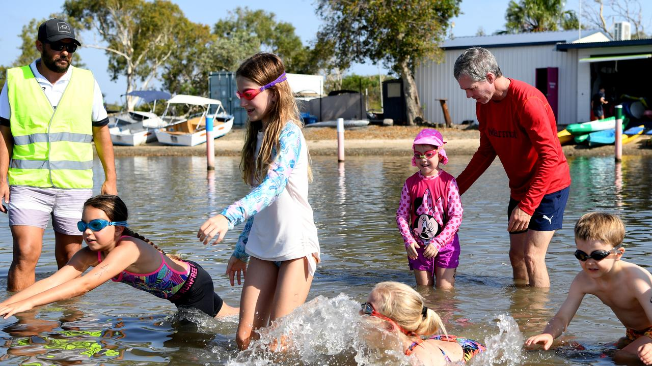 Competitors hit the water in the junior triathlon on Sunday. Picture: JANN HOULEY
