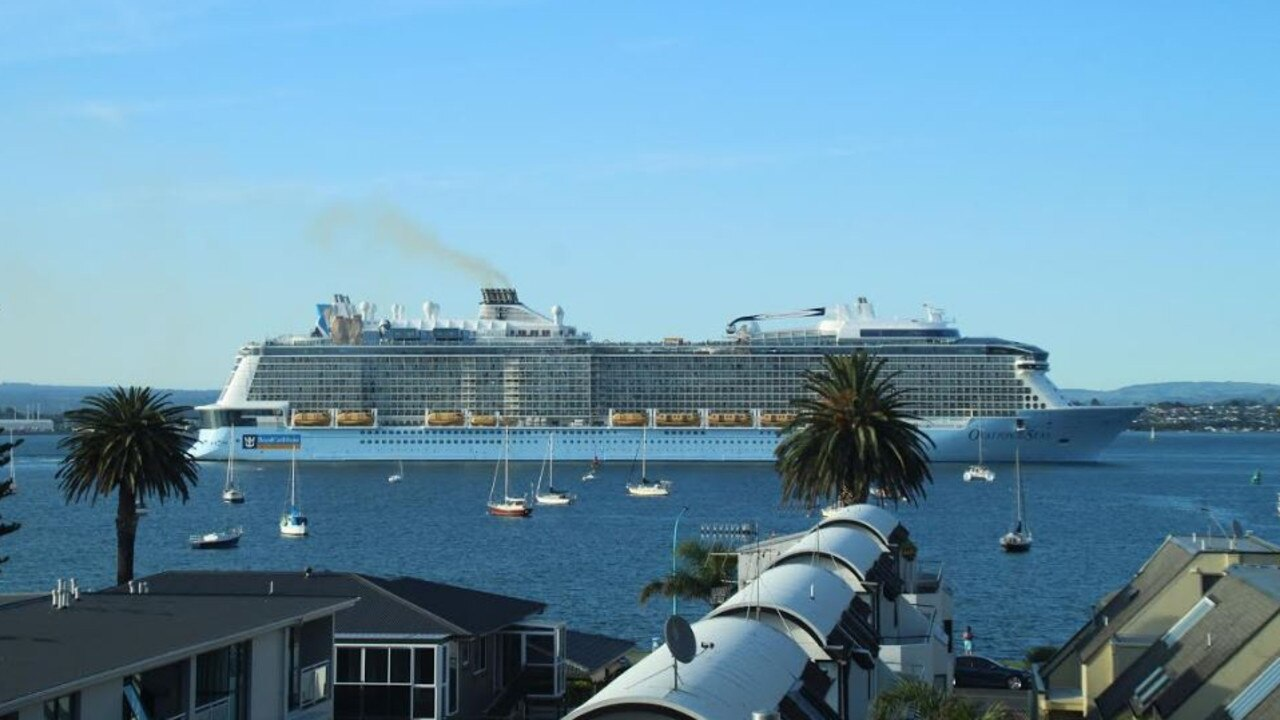 Ovation of the Seas left Tauranga shortly before 7am for the rest of its shortened cruise of New Zealand. Picture: Charles Miranda