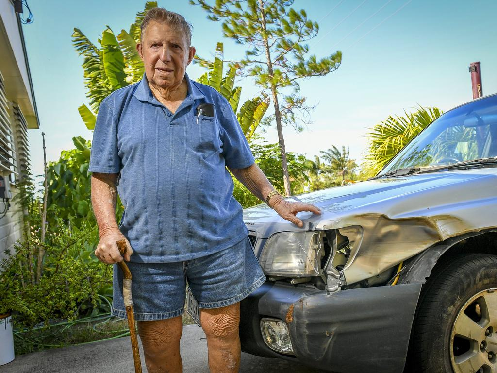 90-year-old Max Ricketts says his Subraru Forester is a write-off after thieves caused $3,000 worth of damage during an alleged crime spree through Boyne Island.