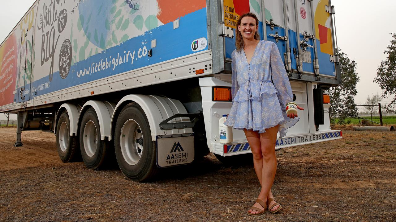 Emma Elliott, director at The Little Big Dairy Co. in Dubbo, produces single source and fair trade milk products next door to her parents' dairy farm. Picture: Toby Zerna