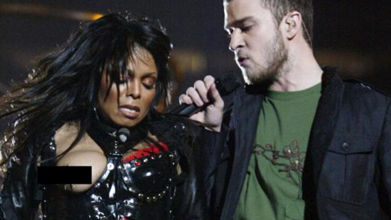 During the infamous Superbowl performance, Timberlake tore away a piece of Jackson's outfit. Picture: Getty Images.