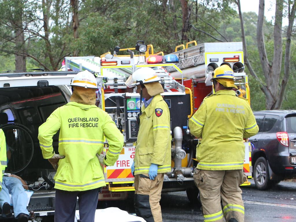 Emergency services at the scene of a two-car crash on Landsborough Maleny Rd in 2014. Picture: Nicola Brander / Sunshine Coast Daily