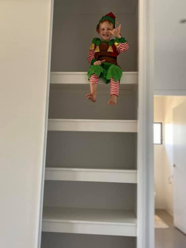 Erakala resident Candice Wales and her son Andy Wales, 3, have invented their own spin on the Elf on the Shelf Christmas tradition.